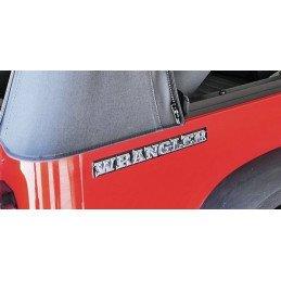 Logo 3D Wrangler arrière Jeep Wrangler YJ 1987-1995 sur benne noir/chrome caisse, logo rigide OCCASION - 55010768-OCC