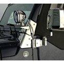 Kit supports de phares (X2) sur charnières de pare-brise, en Acier Inox - Jeep Wrangler TJ 1997-2006 // RT34067