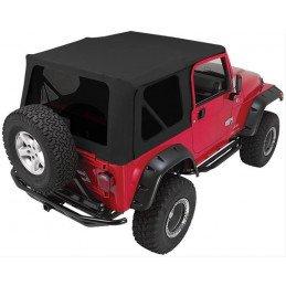 Bâche noir Jean / vitres teintées (sans arceaux) Jeep Wrangler TJ 1997-2006 avec portes acier// RT10215T