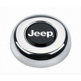 Bouton klaxon chromé logo JEEP pour volant Classic, Challenger, Signature Cherokee XJ - Wrangler YJ CJ 76-96 // GRT-5695