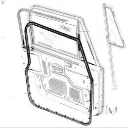 Joint de porte gauche (tôle avec vitre en verre) - Jeep Wrangler YJ , CJ 1976-1995 // 55176223