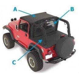 Kit bâches (x3) Jeep Wrangler YJ 1992-1995 - Noir Denim - Bikini + Coupe vent + Couvre benne // CA10215