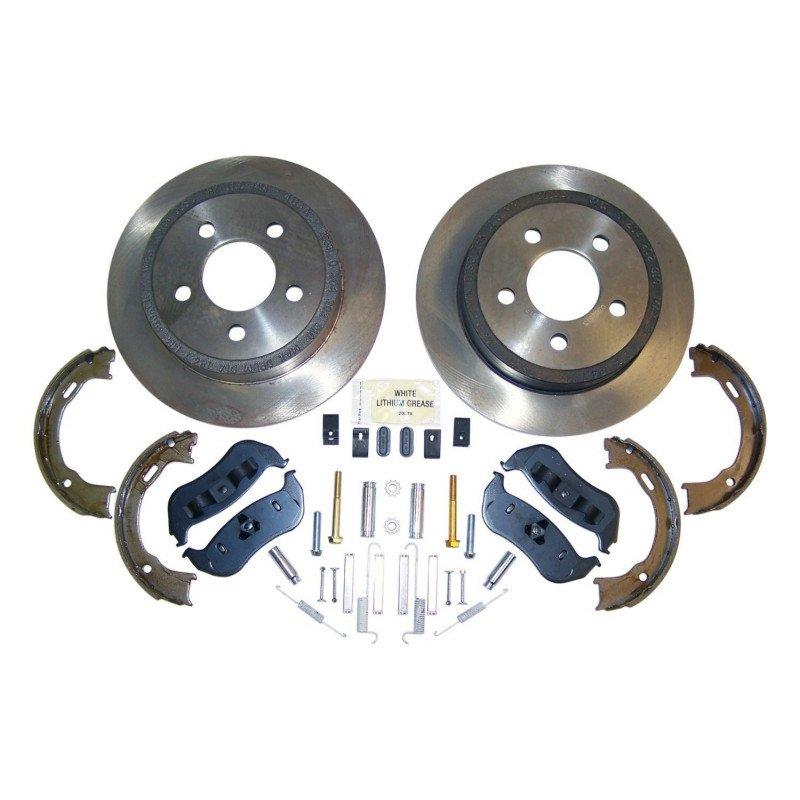 Disques freins arrière + plaquettes + mâchoires + accessoires - Jeep Wrangler TJ 2003-2006 - Cherokee KJ 2003-2007