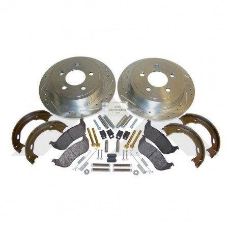 Disques de frein arrière performance rainurés et percés / Jeep Wrangler TJ 2003-2006 / Cherokee KJ 2003-2007 // RT31014