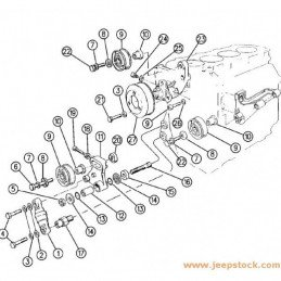 Galet de renvoi - Jeep Cherokee XJ 2.5VM 94-97 / Grand-Cherokee ZJ 2.5VM 94-97 / Grand Cherokee WJ 3.1 TD 99-01// 4796016