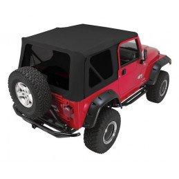 Bâche complète Noire + Arceaux + vitres teintées - Jeep Wrangler TJ 1997-2006 Portes en Acier // CT20435T