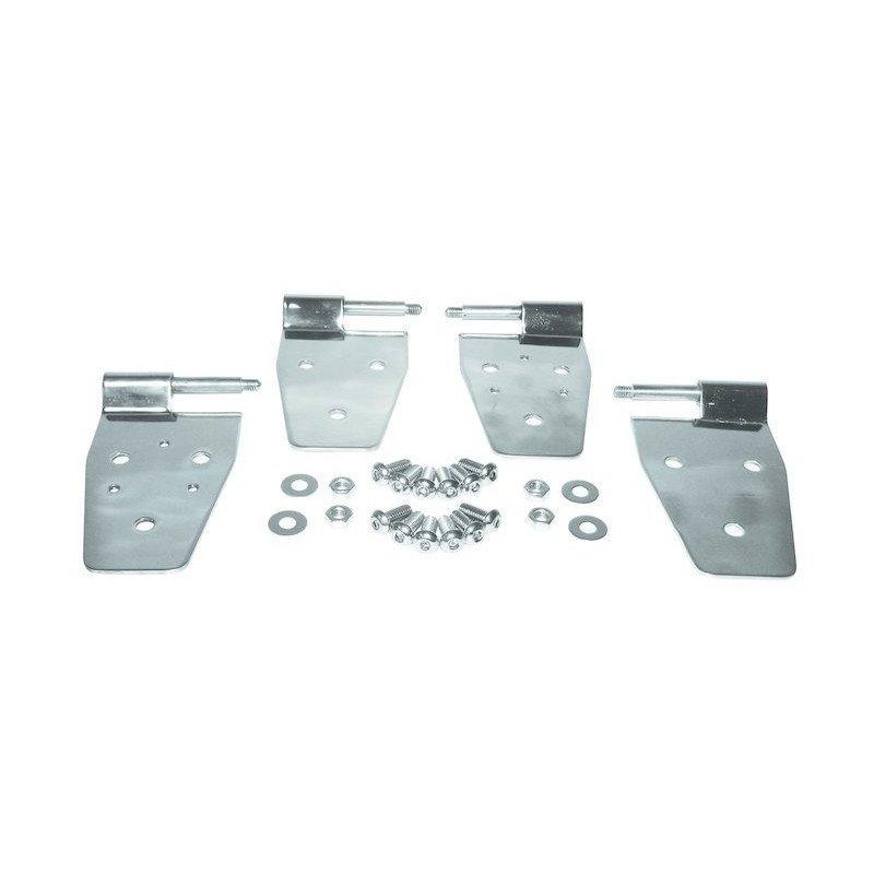 Charnières (x2) demi-porte, percées pour fixation rétroviseurs - Inox - Jeep Wrangler YJ 1987-95 / TJ 1997-2006 // RT34009