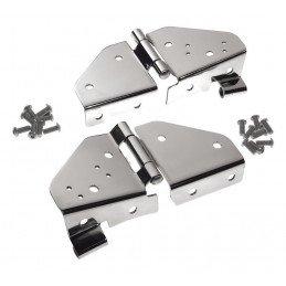 Charnières (x2) de pare-brise, percées pour fixation rétroviseurs, Inox - Jeep Wrangler YJ 1987-1995 / CJ 1976-1986  // RT34017