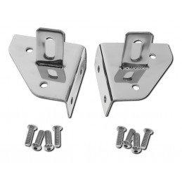 Kit supports de phares (x2) sur charnières de pare-brise, en Acier inox - Jeep Wrangler YJ 1987-1995 / CJ 1976-1986 // RT34018