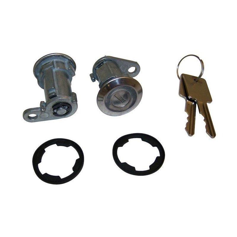Kit barillets de portes + 2 clefs - Jeep Wrangler YJ 1987-90 / Cherokee XJ 1984-90 / CJ 1976-84 // 8122874K2