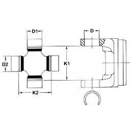 Croisillon arbre de transmission ADAPTABLE  Jeep Cherokee - Wrangler - Grand-Cherokee 84-15 27x92mm graisseur 1330X-5014733AA