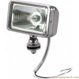 Phare Off-Road antibrouillard rectangulaire INOX, 100W avec cache et ampoule spécial - Pour toutes Jeep // JF717-INOX