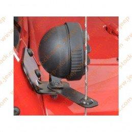 Kit supports de phares sur renforts de pare-brise avec support antenne, D+G - NOIR - Jeep Wrangler JK 2007-2012 // RT28003