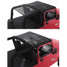 Bâche Bikini convertible 2 - 4 places - Noire/ filet Jeep Wrangler YJ 1992-1995 // CB10011